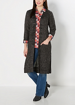 Charcoal Longline Cable Knit Duster