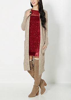 Tan Longline Cable Knit Duster