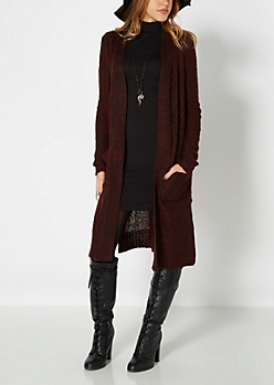 Burgundy Longline Cable Knit Duster