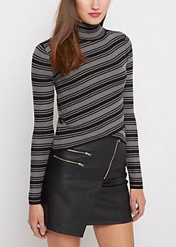 Black & Gray Striped Crossover Mock Sweater