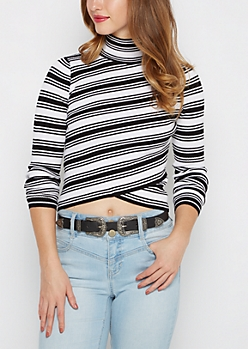 Black & White Striped Crossover Mock Sweater