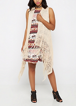 Sand Fringed Waterfall Cardigan Vest