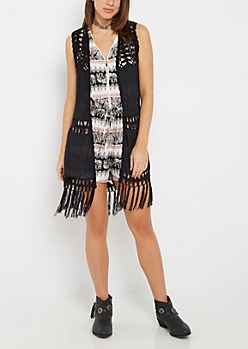 Black Crochet Medallion Vest