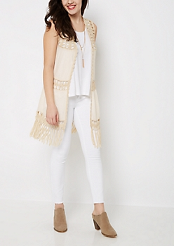 Tan Crochet Medallion Vest
