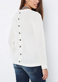 White Button Back Dolman Sweater