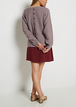 Mauve Button Back Dolman Sweater