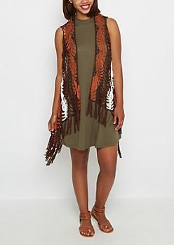 Brown Crochet Fringe Vest