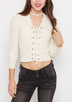 Ivory Lace-Up Cropped Sweater
