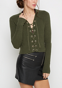 Olive Lace-Up Cropped Sweater