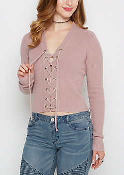 Lavender Lace-Up Cropped Sweater