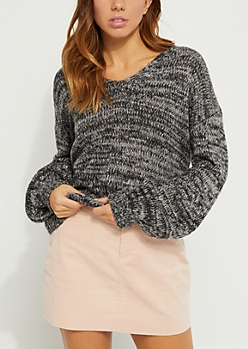 Black Lace Up Back Sweater