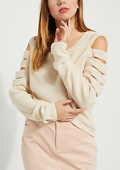 Sand Knit Strappy Cold-Shoulder Sweater