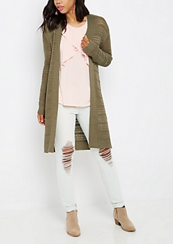 Olive Yarn Knit Cardigan Duster