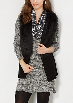 Black Ribbed Hem Faux Fur Vest