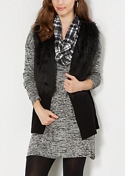 Black Ribbed Hem Faux Fur Vest