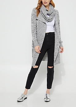 Gray Knit Open Front Cardigan with Scarf