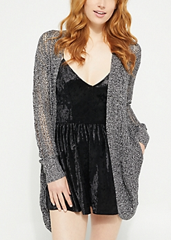 Black Pointelle Knit Long Cardigan
