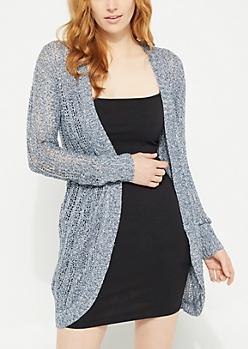 Blue Pointelle Knit Long Cardigan