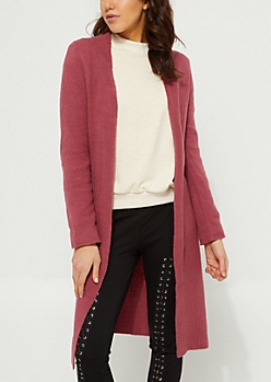 Pink Slashed Knit Cardigan