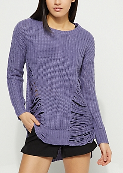 Purple Distressed High-Low Sweater