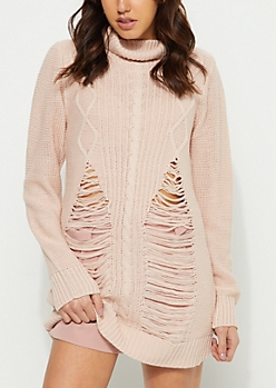 Light Pink Distressed Cable Knit Sweater