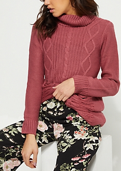 Dark Pink Distressed Cable Knit Sweater