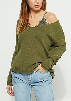 Olive Destroyed V Neck Sweater