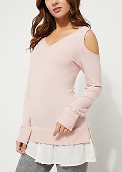 Pink Cold Shoulder Layered Knit Sweater