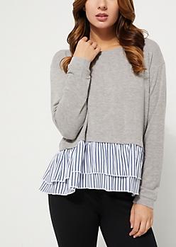 Gray Ruffle Striped Trim Sweater
