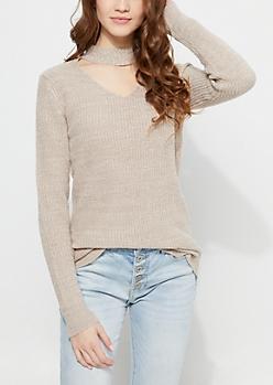 Taupe Thick Knit Choker Sweater