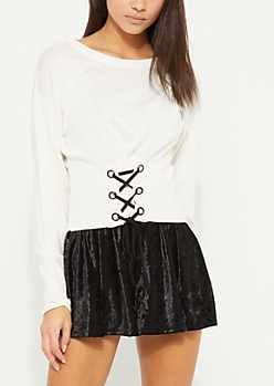 Ivory Lace Up Corset Sweater