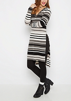 Charcoal Striped Long Length Sweater