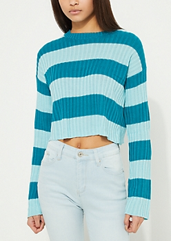 Blue Striped Ribbed Crop Sweater