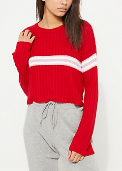 Red Varsity Striped Cropped Sweater