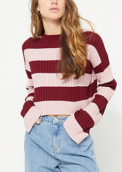 Burgundy Striped Ribbed Crop Sweater