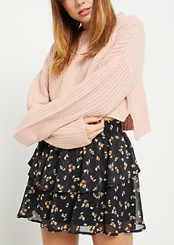 Pink Rib Knit Crop Sweater