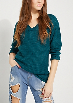 Teal Lattice Back Sweater