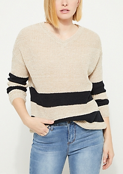 Gray Striped Drop Sleeve Sweater