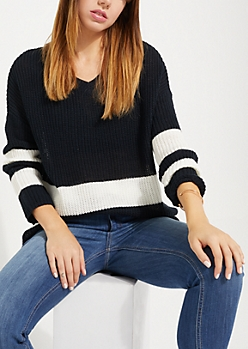 Black Striped Drop Sleeve Sweater