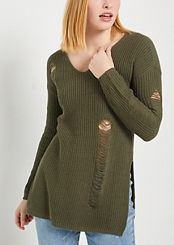 Olive Destroyed Rib Knit Sweater