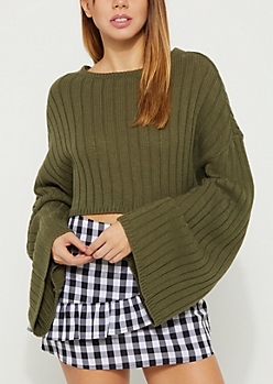 Olive Rib Knit Crop Sweater