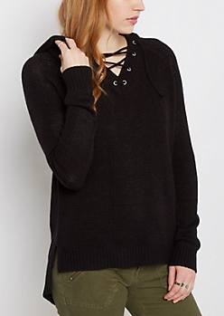 Black Lace-Up Hooded Sweater