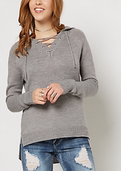 Gray Lace-Up Hooded Sweater