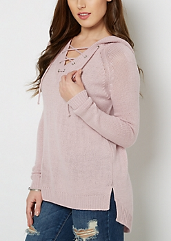 Lavender Lace-Up Hooded Sweater