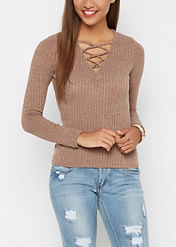 Taupe Lace-Up Ribbed Top