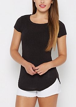 Charcoal Marled Ribbed Knit Tunic Tee