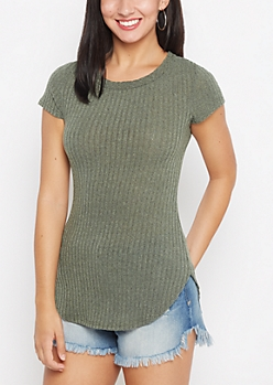 Green Marled Ribbed Knit Tunic Tee
