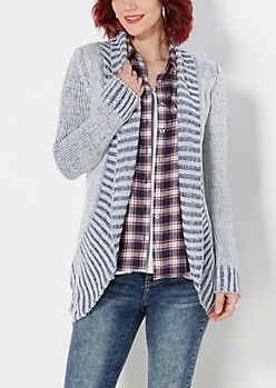 Blue Two-Toned Chunky Knit Cardigan