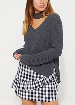 Gray Soft Knit Keyhole Sweater