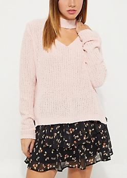Pink Soft Knit Keyhole Sweater
